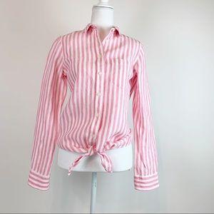 J Crew Tie Front 100% linen Stripe shirt